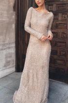 Elegant Stylish Slim Paillette Wide Collar Long Sleeve Evening Dress