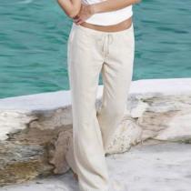 Casual Belt Loops Plain Pants