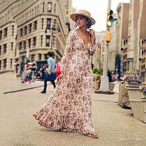 Deep V Neck Floral Printed Long Sleeve Maxi Dresses