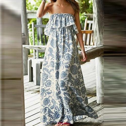 Bohemian Off-Shoulder Printing Strap Vacation Dress