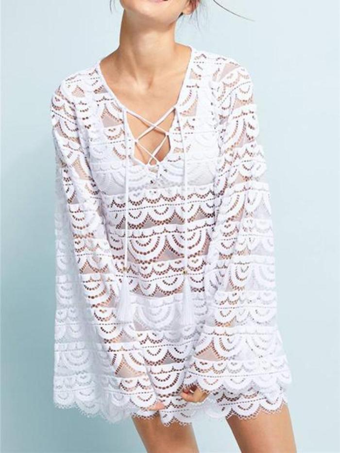Casual Wave Lace Hollow Out Belted Blouse