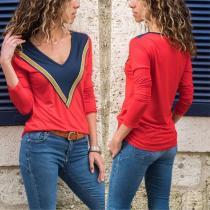 V-Neck Colorblock Long-Sleeved T-Shirt