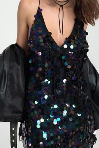 Paillette  Deep V-Neck Shift Dresses