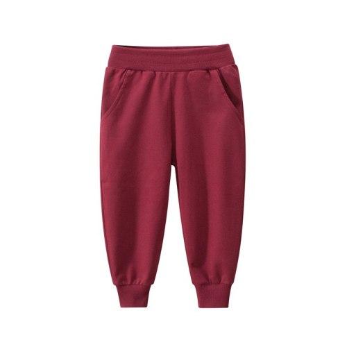 Boys Solid Long Pants Elastic Waist Sports