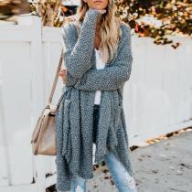 Loose Fashion Long Sleeve Asymmetrical Hem Plain Knitting Cardigans