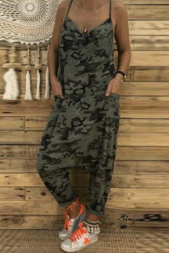 Cotton  Slim Printed  Wide Leg Jumpsuit
