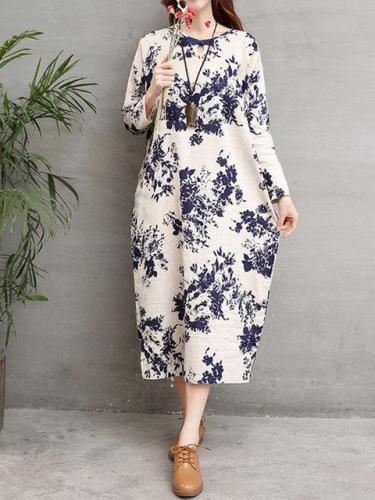 Keyhole Women Apricot Shift Long Sleeve Cotton Pockets Floral Dress