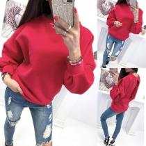 Round Neck Hollow Out Long Sleeve Casual Sweatshirts