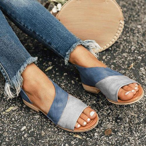 Women Leather   Flat Heel Patchwork Sandals