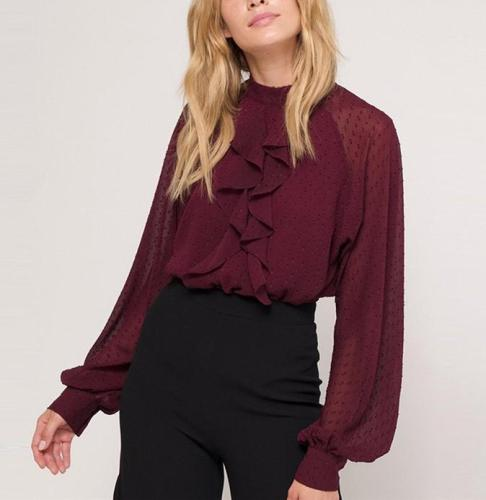 Casual Standing Collar   Long Sleeve Chiffon Shirt Blouse