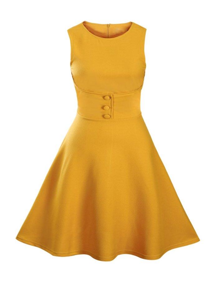 Round Neck Decorative Button Plain Skater Dresses