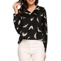 V-Neck Animal Printed Red-Crowned Crane Long Sleeve Blouses