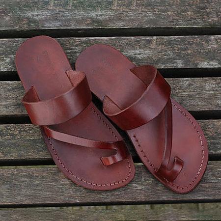 Deep Brown Flat Heel Summer Daily Sandals
