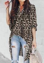 Chic V-Collar   Irregular Leopard Print Blouses
