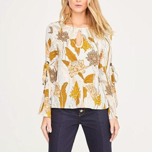 Round Neck Hollow Out Backless Long Flare Sleeve Floral Printed Blouses