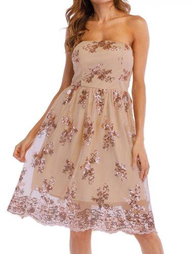 Strapless Glitter Hollow Out Plain Skater Dress