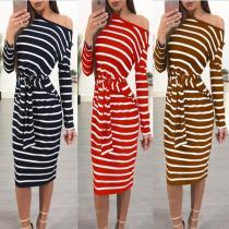 Sexy Round Neck Striped Strap Bodycon Dress