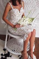 Sexy Sling Lace Wedding Evening Dress