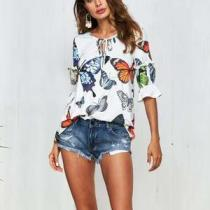 Fashion Butterfly Floral Printed Blouse