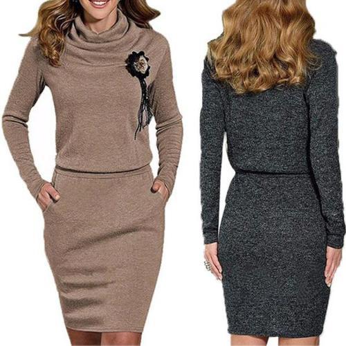 Cowl Neck Plain Pocket Bodycon Dress