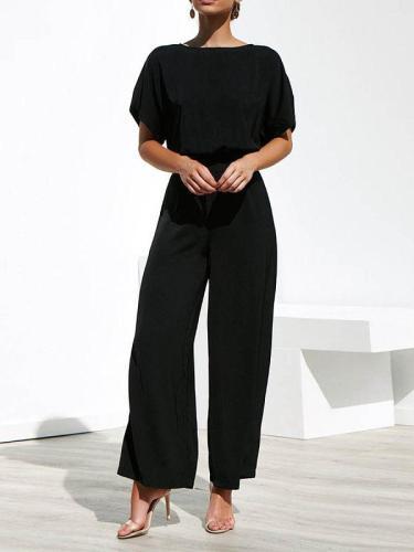 Round Neck Plain Elegant Jumpsuits