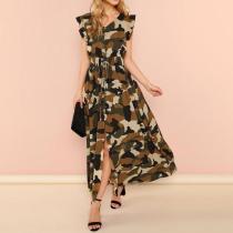 Sleeveless V Neck Camouflage Ruffles Maxi Dress