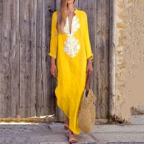 Fashionable Cotton/Line Casual V-Neck Yellow Maxi Dresses