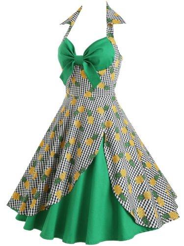 Asymmetric Hem Printed Vintage Dresses