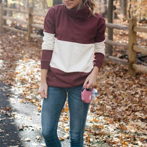Turtle Neck Long Sleeve Color Block Casual T-Shirts