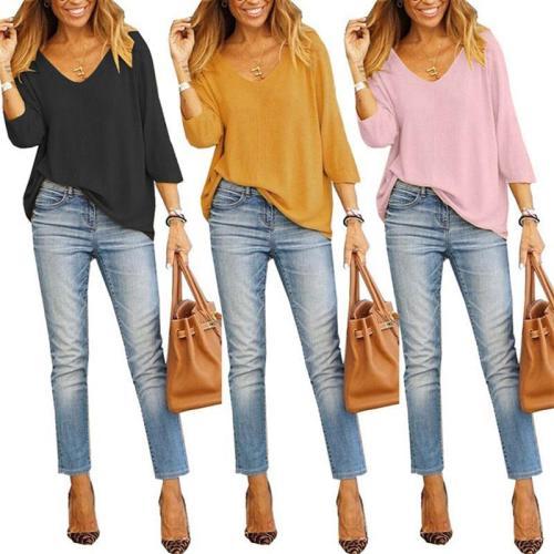 Loose Plain V Neck 3/4 Sleeve Casual T-Shirts
