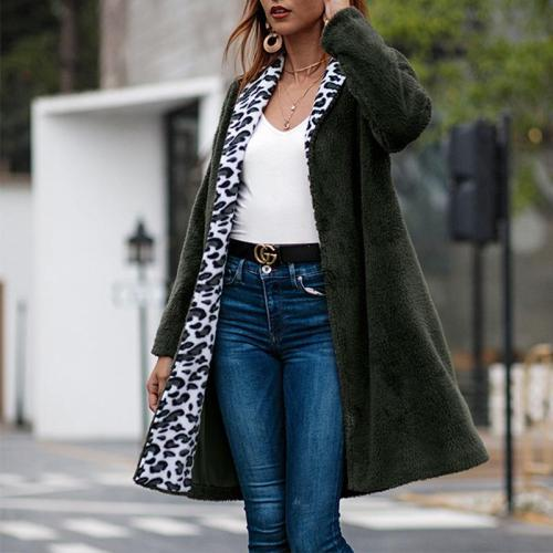 Fashion Leopard Printed Patchwork Long Sleeve Casual Fur Cardigans