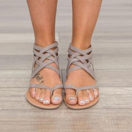 Fashion Pure Color Roman Cross Straps Sandals