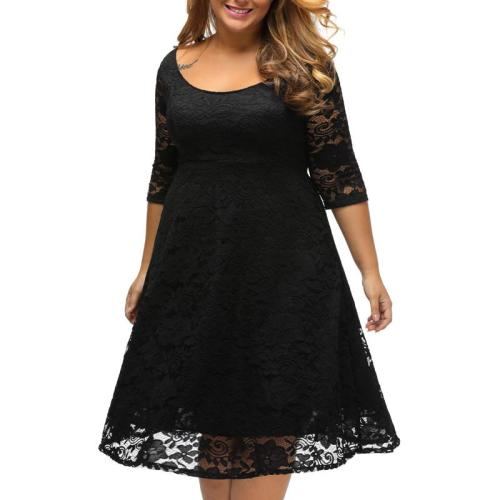 Lace Sexy Plus Size Skater Dress