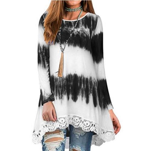 Casual Loose - Sleeved Tie - Dyed Lace Hem T - Shirt