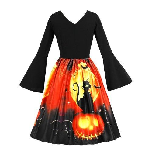 Plus Size Long Sleeve Halloween Round Neck Skater Dress