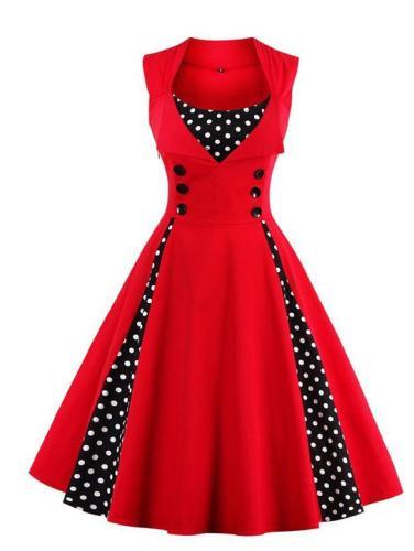 Vintage Polka Dot Sweet Heart Skater Dress