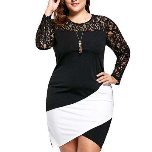 Plus Size Patchwork Sexy Bodycon Dress