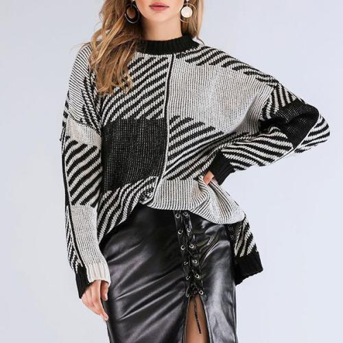 Fashion Printed Split Hem Sweaters