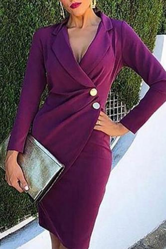 Fashion V Neck Pure Colour Turndown Collar Bodycon Dresses