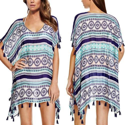 Round Neck Bohemian Printed Tassel Casual Dress