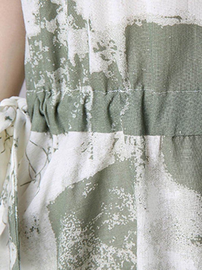 Round Neck Drawstring Abstract Print Skater Dresses