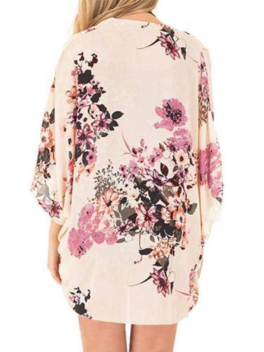 Tropical Flower Printed Chiffon Kimono