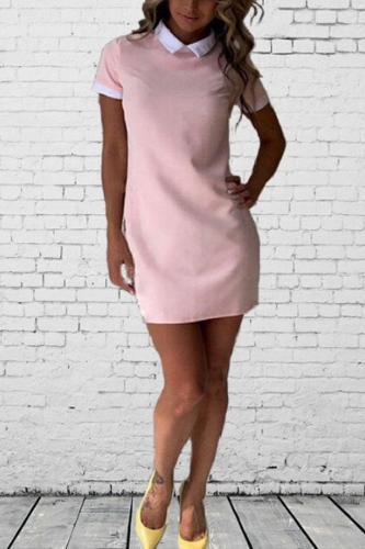 Turn Down Collar  Contrast Trim  Plain  Short Sleeve Casual Dresses