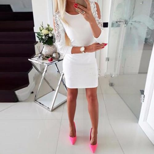 Ladies Off-The-Shoulder Beaded Sexy Hip Bodycon Dresses