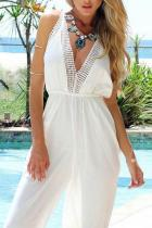 Deep V Neck  Elastic Waist  Plain  Sleeveless Jumpsuits