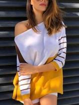 Fashion Casual Color Matching Printed Seven Sleeve Blouse T-Shirt