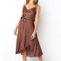 Spaghetti Straps Plaids Printed Belt Asymmetrical Hem Casual Dresses