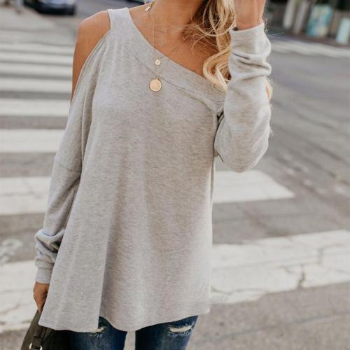 Casual Sloping Shoulder Pure Colour T-Shirts