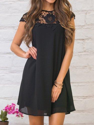 Round Neck Decorative Lace Plain Shift Dress