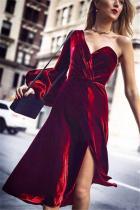 Sexy Fashion Single   Shoulder Pure Color Bubble Sleeve Dress